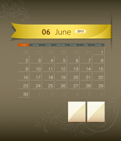 weekday: June 2013 calendar ribbon design, vector Illustration