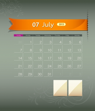 July 2013 calendar ribbon design, vector Vector