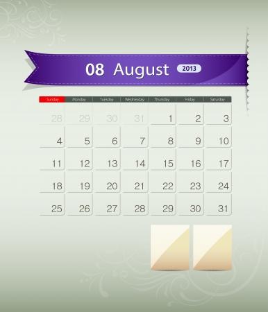 August 2013 calendar ribbon design, vector Stock Vector - 15966273