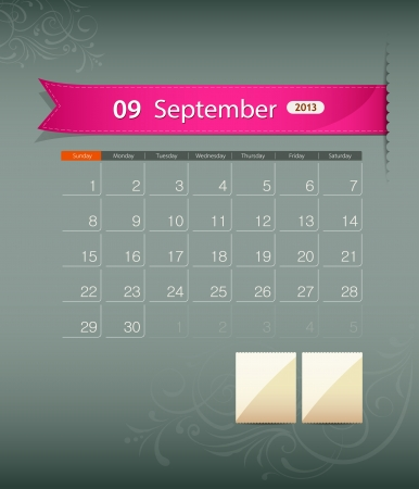 September 2013 calendar ribbon design, vector  Vector