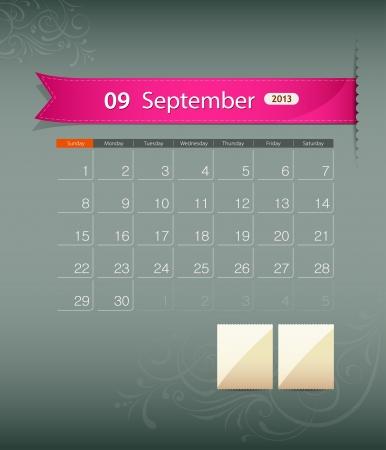 sat: September 2013 calendar ribbon design, vector  Illustration