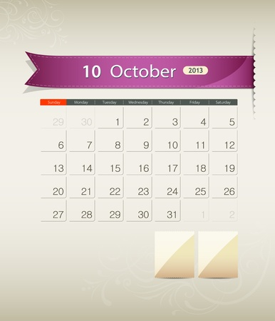 October 2013 calendar ribbon design, vector Vector