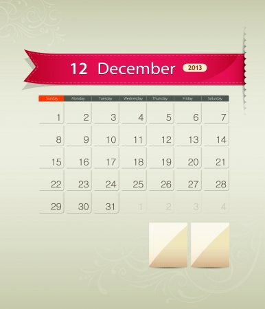 December 2013 calendar ribbon design, vector Stock Vector - 15966260