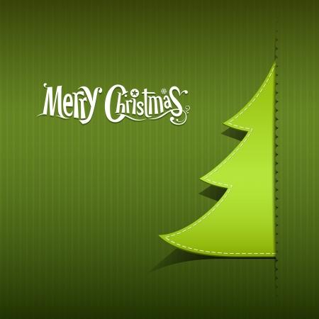 merry christmas text: Feliz Navidad de papel verde �rbol, vector