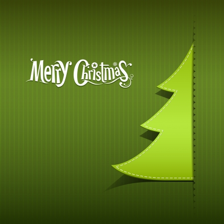 Merry Christmas paper green tree, vector Vector