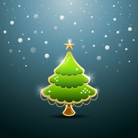 Merry Christmas green tree, vector Vector