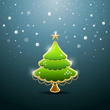 christmas postcard: Merry Christmas green tree, vector
