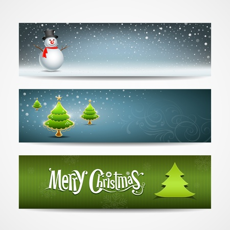 the snowman: Merry Christmas banner design, vector illustration Illustration