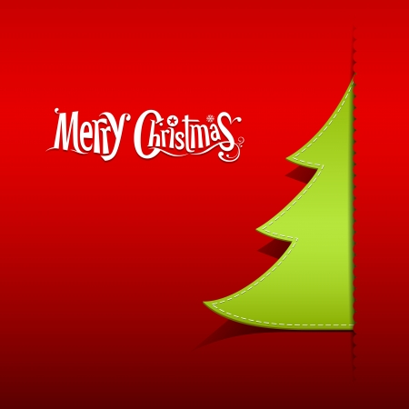 Merry Christmas paper green tree on red background Vector