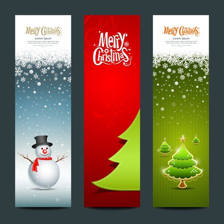 Merry Christmas banner design vertical background, vector Vector