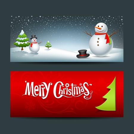 Merry Christmas banner design set, vector