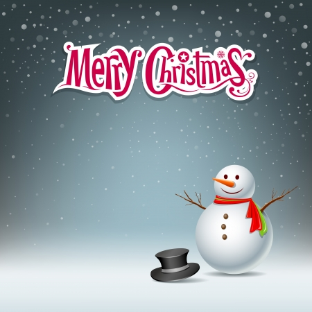 play card: Snowman design background, vector illustration