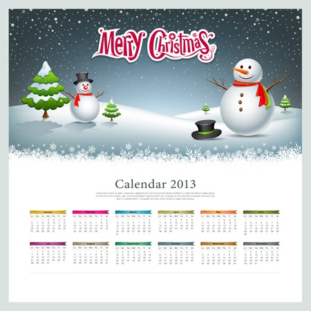 Calendar 2013, Merry christmas and snowman background Vector