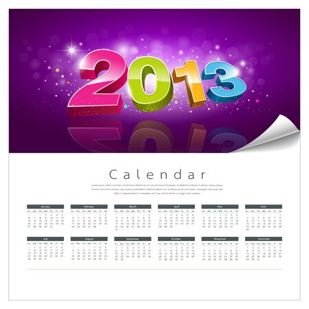 Calendar 2013 new year background, illustration Vector