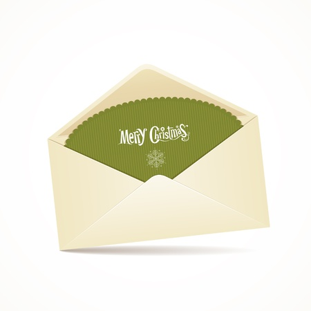 Envelope and green card merry christmas, vector Stock Vector - 16164107