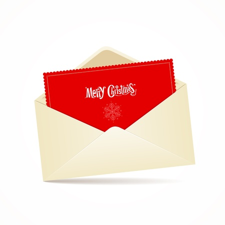 Envelope and red card merry christmas, vector Stock Vector - 16164111