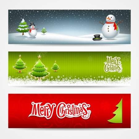snowman christmas: Merry Christmas banners set design background