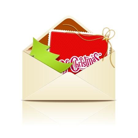 envelope with letter: Busta lettera merry christmas, vettore Vettoriali
