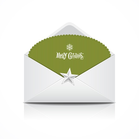 Envelope and green card merry Christmas, vector  Stock Vector - 16260436