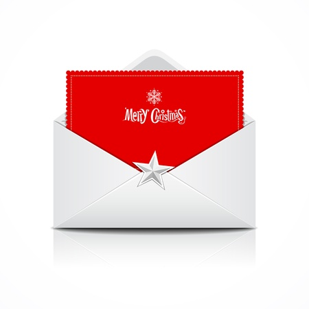 Envelope and red card merry christmas, vector Vector