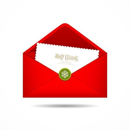 sobres para carta: Red Envelope carta Feliz Navidad tarjeta blanca, Vector