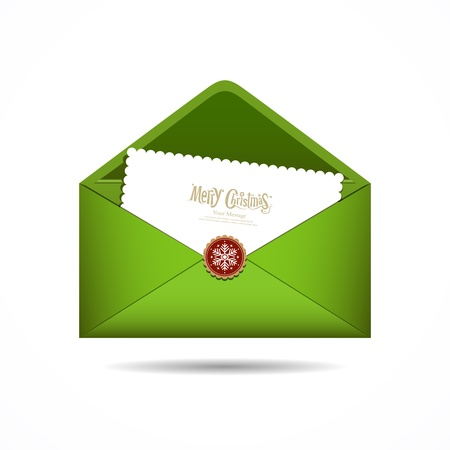 Green Envelope letter Merry Christmas white card, Vector Vector