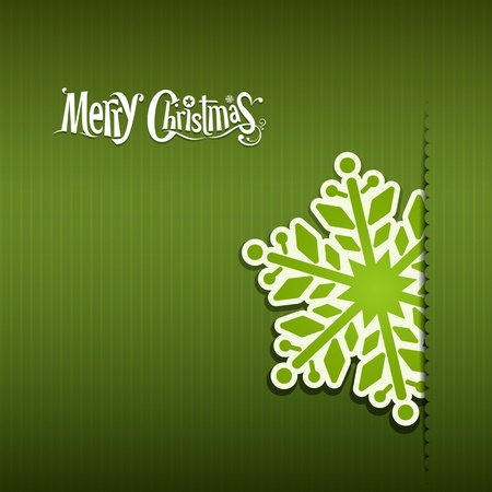 Merry Christmas Snowflakes paper green, vector Vector
