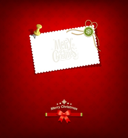 Merry christmas paper white card message Stock Vector - 16402271