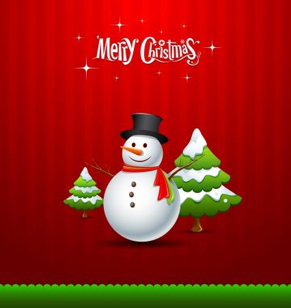 weihnachten zweig: Frohe Weihnachten Schneemann und gr�nen Baum Gru�karte Illustration