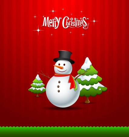 Merry Christmas Snowman and green tree Greeting card Vector