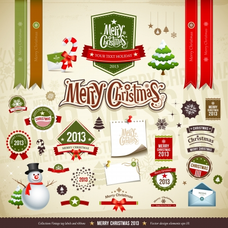 Merry Christmas collections design Vector