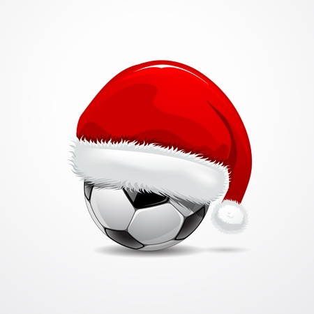 santa       hat: Santa hat on soccer ball, vector illustration