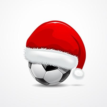 pelota de futbol: Sombrero de Santa en bal�n de f�tbol, ??ilustraci�n vectorial