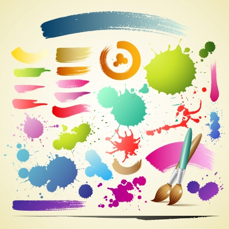 Paint brush colorful watercolor collections background Vector