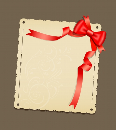 Red ribbons and paper classic, vector illustration Vector
