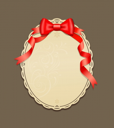Red ribbons and Circle paper classic, vector