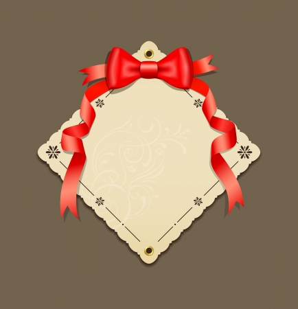 Red ribbons and paper art vector Vector