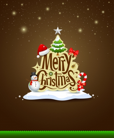 Merry Christmas lettering design greeting card background Ilustração