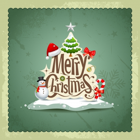Merry Christmas vintage design greeting card background Vector