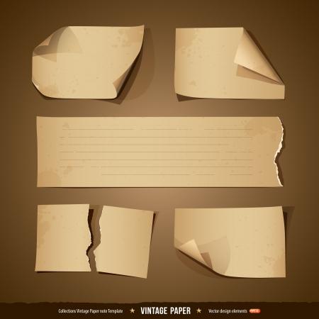 antikes papier: Vintage paper Sammlungen leeren Vorlage Illustration