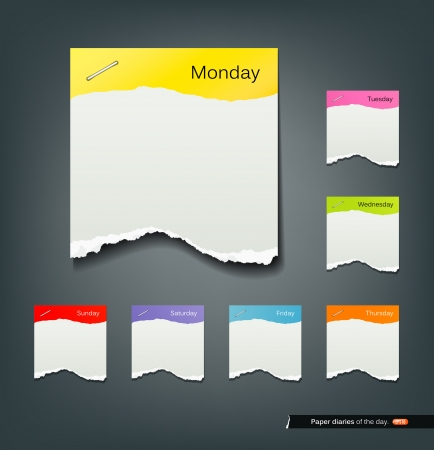 week: Colorful ripped paper note of the day background Illustration