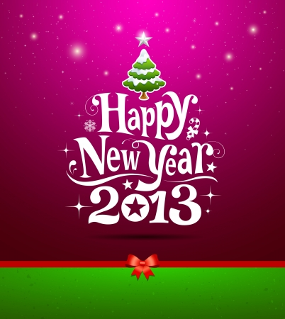 new years eve background: Happy New Year 2013 lettering Greeting Card