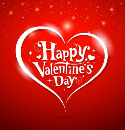 tag: Happy Valentine s Day Schriftzug Grußkarte auf rotem Hintergrund, Vektor