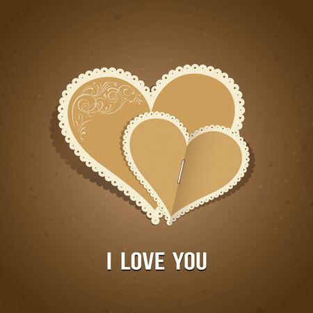 Happy Valentine day paper classic design, vector Vector