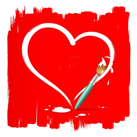 Paint brush heart shape on red background, vector
