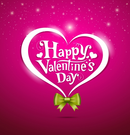pink heart: Valentine Day lettering and green ribbons Greeting Card on pink background