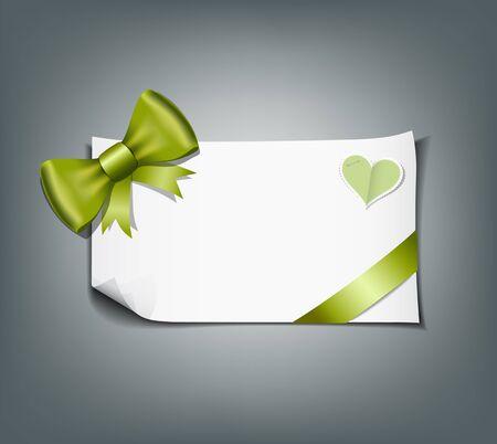 secret love: Cinta verde y el fondo blanco del papel del dise�o