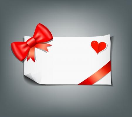 secret love: Red ribbon and white paper design background
