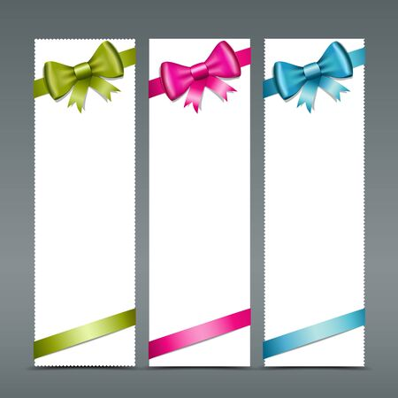 Colorful ribbons and white paper card, vector Stock Vector - 17971693