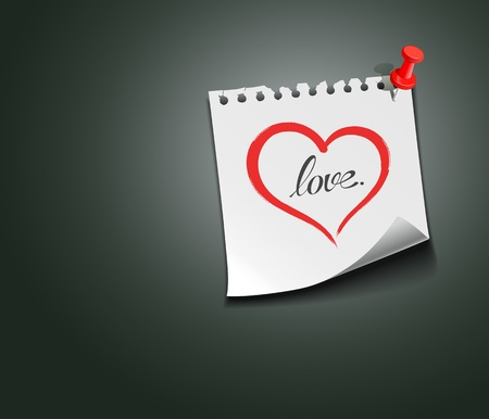 Red heart paper note love message, vector Stock Vector - 17972462
